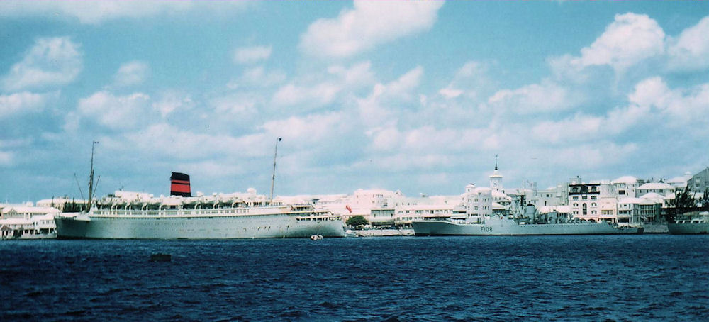 Queen of Bermuda and HMS Londonderry - Hamilton, Bermuda.