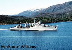 The destroyer Almirante Williams underway in the Strait of Magellan
