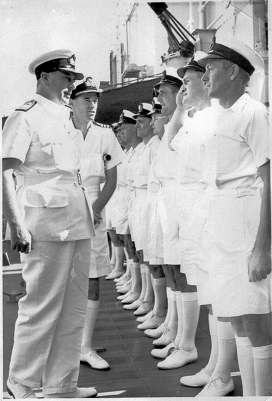Lord Louis Mountbatten speaking to the Senior Rates at Trinidad